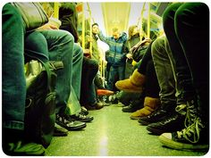 shoes on subway.