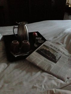 Perfect way to start my Bday - in bed with coffee and newspaper @Ricardo Villamagua Hotel San Francisco