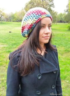 Slouchy beanie hat  RAINBOW  Blue by BeanieVille on Etsy, $24.95
