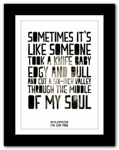 BRUCE SPRINGSTEEN - I'm On Fire  - typography song lyric unframed poster art  ltd edition  print on Etsy, $16.76 AUD