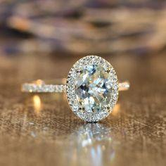 Diamond and Aquamarine Engagement Ring in 14k White Gold Pave Diamond Wedding Band 9x7mm Oval Aquamarine Gemstone Ring by LaMoreDesign on Etsy https://www.etsy.com/listing/204026801/diamond-and-aquamarine-engagement-ring