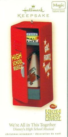 Hallmark Keepsake Ornament Disneys High School Musical  Brand: Hallmark Product Type: Keepsake Holiday Ornament Year issued: 2008 UPC: 795902020897 Item no: QXD2044 Features: Handcrafted, Sound, Battery Operated size: 4 inches high Artist: Steve Goslin Holiday: Christmas