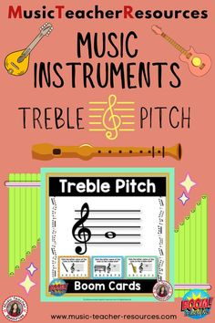 From Music Teacher Resources, these 26 digital task cards on the BOOM Learning™ website are fun, educational and engaging activities to reinforce the concept of rhythm! Each card gives the student one treble note to identify. This game uses both treble lines and spaces. The pitches used are all notes on the lines and spaces of the staff from middle C and D below the staff to G above the staff. ♫ ♫ #musiceducation #mtr #boomcardsformusic #boomcards