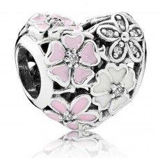 Pandora Silver Poetic Blooms Enamel Floral Heart Charm 791825ENMX