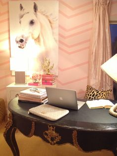 My French black antique desk pink home office lucite chair leopard accent