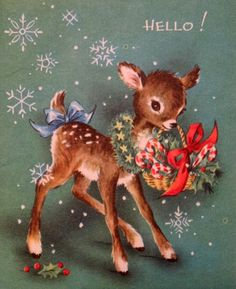 Old Christmas Post Cards — Sweet Deer Says Hello! Vintage Christmas Images, Christmas Scenes, Christmas Deer, Christmas Animals, Retro Christmas, Vintage Holiday, Christmas Pictures, Vintage Greeting Cards, Christmas Greeting Cards