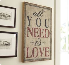 """Burlap and Wood """"All You Need Is Love"""" Sign"""
