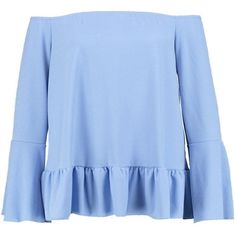 Boohoo Plus Sophia Off The Shoulder Flare Sleeve Top (1,610 PHP) ❤ liked on Polyvore featuring tops, off the shoulder crop top, bell sleeve tops, off the shoulder bell sleeve top, blue crop top and jersey crop top