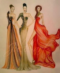 art, brown, colors, design, drawing, dress, fashion, glamour, gold, green, illustration, model, orange, woman