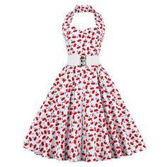 ZAFUL Summer Women plus size clothing Audrey hepburn Vintage robe Halter  feminino Ball Gown Party Retro Dress 51f2e6675333