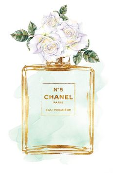 Chanel No5 Printed fashion poster watercolor white roses print 24x36 Coco Chanel…