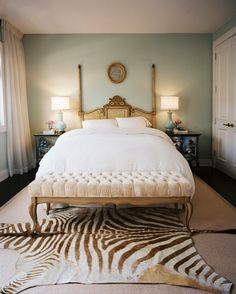 Zebra-Hide Rug - Bonus Bedroom: The overall decor in this room may be French Vintage, but the zebra rug adds an exotic touch. Dream Bedroom, Home Bedroom, Bedroom Wall, Bedroom Decor, Bedroom Ideas, Master Bedrooms, Bedroom Inspiration, Bedroom Colors, Bed Room