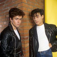 /r/OldSchoolCool **History's cool kids, looking fantastic! Andrew Ridgeley, George Michael Wham, Leather Jacket, Jacket Men, Man, 1980s, Skinny, Singers, Legends