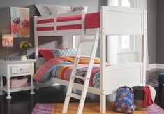 Discover a bunk bed that your child loves to sleep in. Ashley HomeStore offers bunk beds and loft beds enhancing the storage and style of your child's room. Bunk Bed Rail, Bed Rails, Two Twin Beds, Twin Bunk Beds, Twin Twin, Sports Bedding, White Bunk Beds, Twin Comforter Sets, Bedding Sets