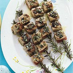 Rosemary Grilled Tuna -- the rosemary sprig acts as a skewer and a flavor enhancer!