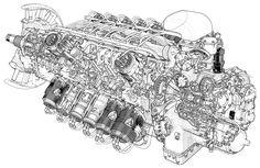 Cutaway of a Rolls Royce Pennine engine x Bike Engine, Jet Engine, Aircraft Engine, Ww2 Aircraft, Technical Illustration, Technical Drawing, Luftwaffe, Aviation Mechanic, Rolls Royce Merlin