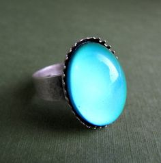 Petite Bright Mood Ring in Antiqued Silver