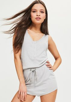 Missguided - Grey Ribbed Cord Detail Playsuit