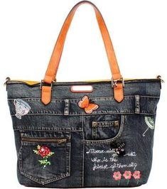 Nicole Lee Riley Denim Embroidery Shopper Bag (Women's)