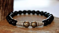 Men bracelet, Men's beaded bracelet, gemstone men bracelet, Onix stone mens bracelet, pyrite stone and tibetan silver charm