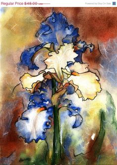 iris watercolor print  yellow purple iris by AlisaPaints on Etsy, $38.40