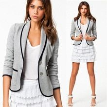 2015 Spring Autumn New Women's Coats Full Sleeve Single Breasted Jackets Coat For Women Cotton Slim Casual Suit Coats For Women, Clothes For Women, Casual Suit, Women's Coats, Types Of Fashion Styles, Latest Fashion Trends, Fashion Brand, Sleeve Styles, Single Breasted