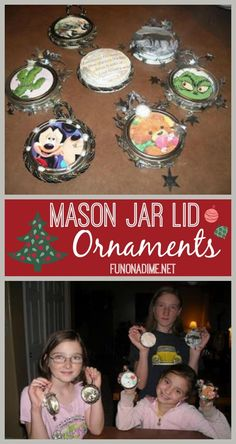 Homemade Mason Jar Lid Ornaments - use items you already have to create this fun kid friendly Christmas keepsake