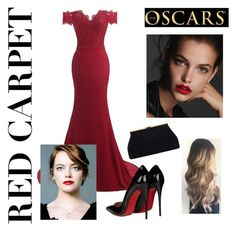 """""""Red Carpet Emma Stone"""" by emilymorgan457 ❤ liked on Polyvore featuring Christian Louboutin"""