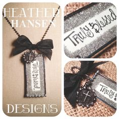 Handwritten Truly Blessed Silver german glass glitter charm with small cross wax seal. $36.00, via Etsy.