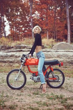 Biker and babe, Luci Taffs by Nicholas Potts in upstate NYC