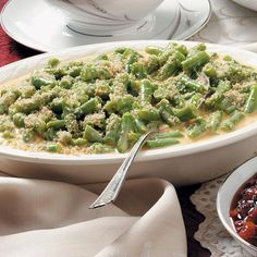 Green Beans Supreme Recipe -Here's a nice substitute to plain green bean casserole. The well-seasoned cheese sauce adds extra zip to this familiar dish. —Heather Campbell, Lawrence, Kansas