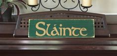 SLAINTE Irish Ireland Sign Plaque Wood Happy by shabbysignshoppe
