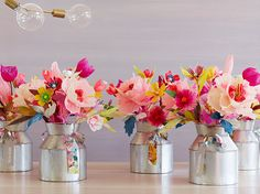 Fun, colorful paper flower bouquets which can make your home glow in elegant beauty.More on how to make them: http://marriedtocraft.com/