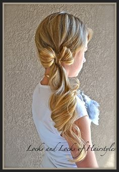 Clothes-line Bow: Step 1: Put hair into a tight side ponytail. Step 2: Use the bow method. Step 3: Curl hair to make gorgeous curls