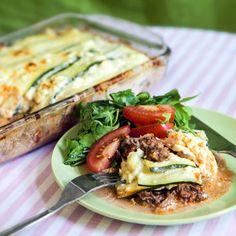 Recept på Krämig lasagne med zucchini och köttfärs - MatHem