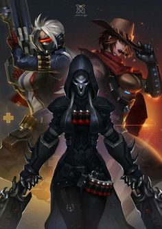Rule 63'd Soldier 76, Reaper and McCree // Reaper looks rather like a Sith Lord...