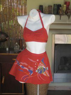 I wish I was rich and thin!    Catalina Rare 1940's Hand Painted Fish Bikini. $350.00, via Etsy.
