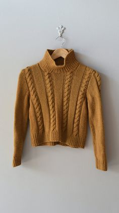 vintage 1960s sweater / hand knit 60s wool sweater / by DearGolden, $45.00