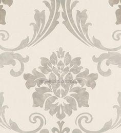 Papel pintado damasco vintage floral marron arena - 40440