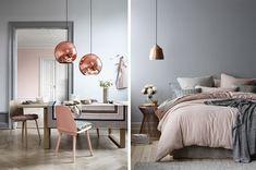 灰色可配淺粉、低彩度的粉紅色,若是桃紅色,恐怕對比太強烈。此外,配金銅、黃銅色燈罩或飾品,效果也不錯。