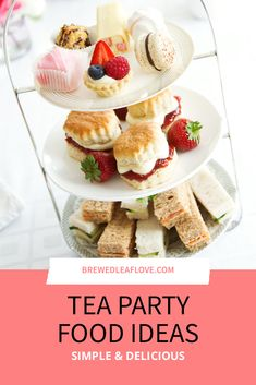 Top ideas for easy make ahead tea party food recipes for sweets, sandwiches, appetizers and savory bites. Perfect for ladies english tea, bridal showers, and for kids. Create an elegant menu in no time with these easy recipes. Gourmet Sandwiches, Sandwich Bar, Appetizer Sandwiches, Finger Sandwiches, High Tea Menu, High Tea Food, Afternoon Tea Recipes, Afternoon Tea Parties, Tea Time Recipes