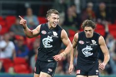 Patrick Cripps Photos - Patrick Cripps of the Blues celebrates a goal during the round 19 AFL match between the Gold Coast Suns and the Carlton Blues at Metricon Stadium on July 2018 in Gold Coast, Australia. Carlton Afl, Carlton Football Club, Netball, Sports Pictures, King James, Rugby, My Boys, Fangirl, Tank Man