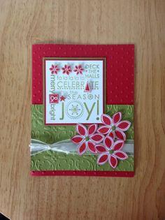Items similar to Stampin Up handmade Christmas card - season of Joy on Etsy Chrismas Cards, Stamped Christmas Cards, Christmas Cards To Make, Xmas Cards, Handmade Christmas, Holiday Cards, Making Greeting Cards, Beautiful Handmade Cards, Winter Cards