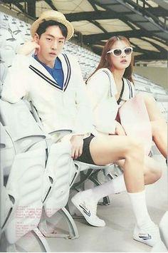 nam joo hyuk and choi a ra for maps, may 2014. Korean Couple Photoshoot, Oh My Venus, Korean Fashion, Mens Fashion, Lee Sung Kyung, Bok Joo, Joo Hyuk, Kim Woo Bin, Fashion Couple