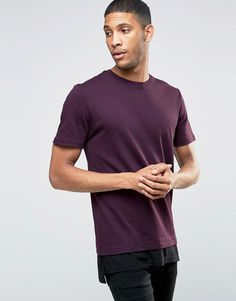 Image 1 ofRiver Island Longline T-Shirt In Burgundy With Double Layer