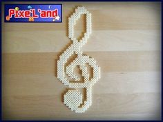 Treble Clef pixel art hama perler by Pix'L'and Hama Beads Patterns, Beading Patterns, Vocaloid, Motifs Perler, Fusion Beads, Melting Beads, Beaded Ornaments, Pearler Beads, Plastic Beads