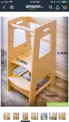 Kidzwerks Child Standing Tower - Child Kitchen Helper Step Stool with Adjustable Standing Platform - Wooden Montessori Learning Tower - Kid's Step Stool Toddler Kitchen Stool, Kitchen Step Stool, Kitchen Stools, Step Stools, Kitchen Dining, Wood Projects That Sell, Small Wood Projects, Scrap Wood Projects, Learning Tower