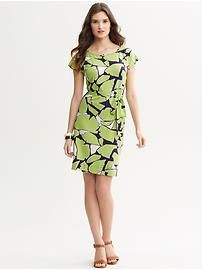 Printed tie-front knit dress