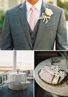 Grey suit, pink tie!