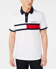 Tommy Hilfiger Men's Custom Fit Logo Graphic Polo, Created for Macy's - Bright White Camisa Polo, Polos Tommy Hilfiger, Moda Peru, Polo Logo, Dress With Sneakers, Plus Size Activewear, Polo T Shirts, Mens Big And Tall, Red Shorts